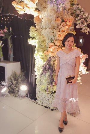 Elegant off shoulder lavender party dress