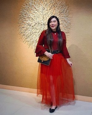 #Repost from Clozetter @Mgirl83.  Dresscode was red gown, i didn't want to overdress so i actually wore a @colorbox knit top (which is actually pretty casual) with my beloved red tutu from @hm - all humble items so i paired it with my vintage @dior Bag!  Was upset because it was for husband's function and red is one of my least fave colors yet i had to wear it for the event but then made a joke about me looking ready for a Chinese New Year Event. THE NERVE 😑!  #SbyBeautyBlogger #BeauteFemmeCommunity  #cafesurabaya #ootd #ootdid #clozetteid #sbybeautyblogger  #notasize0  #personalstyle #surabaya #effyourbeautystandards #celebrateyourself #mybodymyrules
