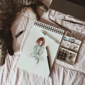 Minggu produktif! Akhirnya gambar lagi setelah 53273881 abad ga gambar 🤗 #cinsketch •••••#art #artwork #artist #illustration #design #sunday #ggrep #clozetteid #illustrator #illustratoroninstagram #sketch #paint #instaart