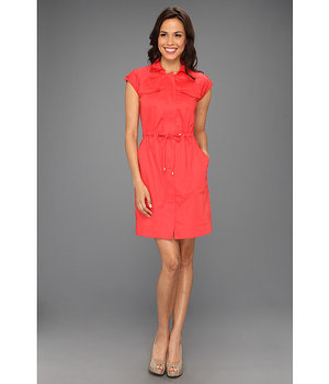 Ellen Tracy Anorak Shirtdress With Gold Hardware Hot Coral - 6pm.com