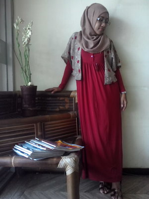 #throwback #ootd in my Semarang office with Zoya red long dress, my fave ever