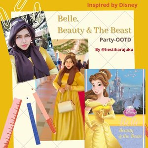 LATEPOST: 🌹💛👑🦁... Edisi Kondangan 😂 #thematicfashion goes to #party kali ini temanya #DisneyPrincess #Belle 🦁💛🌹#BeautyandtheBeast #Colorchart : #Yellow💛 and  #Brown🤎-----#nhkkawaii #clozetteid #Modestfashion #modestwear#redrose#Fashion#lecturer