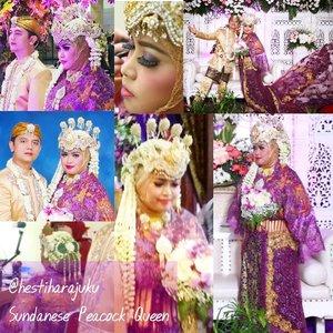 "Throwback 18❤11❤17 ---- #HestiHarajuku #WeddingGown :#Sundanese #hijab "" The #PeacockQueen "" #PurplexGold------#muslimbride#clozetteid #hootd#wedding#IndonesianBride"