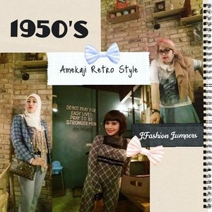 "Monday, Sept 28th, 2015-----🍕🍝🍕 #1950s #Amekaji #Retro #Fashion #Style by #JFashionJumpers --- #Indonesian #Japan #FashionCommunity at @milanpizza #milanpizzeriacafe Margonda - Depok 🍕🍝🍕 Yuhuuu!... hari ini @mineko_shirota @lemoika & #heztyharajuku lagi meeting ngomongin next project berkaitan dengan momentum @indonesiafashionweek .Sekalian aja dandan gaya 50's era karena suasana lokasinya yg mendukung. Sayangnya pencahayaannya kurang bagus untuk foto2, jadi banyak foto yg blur/ pecah ---> kudu beli cam pro nih haha! 😄 Referensi gaya 50's yang ok salah satunya ada di film "" #grease "" yang dibintangi John Travolta . Stylenya simple, ga banyak detail. Motif #pleads... #pearls ... kacamata berbingkai tebal ...dan #bandana yg diiket simpulnya di atas kepala merupakan ciri yg paling kuat. Untuk make up, bisa contek gayanya Audrey Hepburn, Liz Taylor dan Marilyn Monroe; bentuk alisnya tegas, red lipstick dan smokey eyes bisa diandalkan untuk gaya Amekaji  Retro 50's 😉😘 PS:  special thanx to ""Papi Bearnya Minye"" @elef_aresius yg udah megangin camnya haha 😂😂😂 #stylishtraveler 👘👒🌹 #OOTD #modestfashion #coveredstyle #headscarf #scarf #scarfstyle #ClozetteID @clozetteid #instafashion #instabeauty #retrolook #retrostyle #timetraveler"