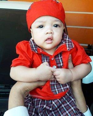 Sun, August 11th, 2019--- 🐏🐐🐪🐫🌴🕋 #HappyEidulAdha 1440 H ! #EidMubarrak ! 🕋🌴🐫🐪🐐 #ArtanabilRafisqyErlan (4 m.o) in #Babymoslemwear --- #red #kokobayi + #celanasarung #bayi . ----#clozetteid#moslemfamily#modestwear#modestfashion#Lebaranoutfit#ootd#4monthsbaby#myson#mybabyboy