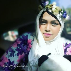 """Saturday, August 29th, 2015 ---- #MuslimahTraveler Day 4 : """"Mission Accomplish, Let's go home! """" 💑💍💐 💐💍💑 When I hug this #Panda from my brother and her fiancee, I feel like... my mission has been accomplished... alhamdulillah! 😉 Now it's time to go home and thinking about my own life lolz. My #OOTDis #fairy in #modestfashion #coveredstyle . I wear a simply #flowerpattern long dress, I bought this at Bringhardjo Market #Yogya... A simply white #instantheadscarf and my #handmade #flowercrown. Tattaraaaa!!... 🌸🌹🌻🌼#scarf #headscarf #traveling #trip #Indonesia #stylishtraveler #travelgrammer #ClozetteID #hijabstyle #kerudunginstan #hijabi #hijabista #MuslimahIndonesia #HijabIndonesia"""