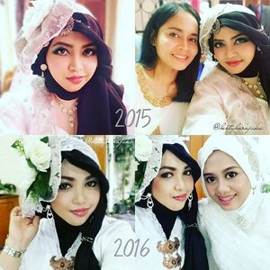 "💕🌹👰 Flashback Saturday, ""Me & My #SisterinLaws "" With Rara at Sandhi-Dewi #wedding in Lampung- 2015 & with @dewirahmawati29  at Uli-Rara wedding in Jakarta 2016 💕🌹👰#whitedress #vintagefashion #classic @clozetteid #ClozetteID #modestfashion #coveredstyle #headscarf #headpiece #fashion #fashiongrammer #instawedding"