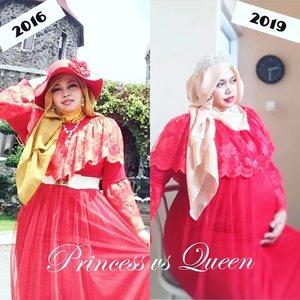 """Thu, Feb 14th, 2019---💃❤🤰 ❤ #Princess vs #Queen❤ #SingleGirl vs #MomToBe❤ #virgin vs #8monthspregnant❤ Same #gown...❤ Same lady ...❤ Different tummy size 🤣😂----Cieeh... yg lagi pada Valentine's Day... dapet coklat berapa hari ini? 🍫🍫🍫 Mami Bubu sih ga ikutan celebrating Val's day tp... tetap hunting coklat discount eeh... ternyata si Papi @erdin.saef yg doyan coklat beli coklat jugaaah... 😂😂 pulang2 bawa coklat semalam lalu kita tuker2an so sweet banget yaa hihihi... --Hari ini lebih ke bersyukur karena Kk Bebi genap 8 bulan menurut perhitungan USG terakhir alhamdulillah... inshaAllah kurleb sebulan lagi kami akan bertemu dengan hadiah terindah dari Allah untuk cerita cinta kami... amiin yra... (Nyusul Raisa n Hamish yg baru dapet baby kemarin hehe...) & hari ini klo kita flashback ke 2 thn lalu juga merupakan hari """"jadian"""" kami eaaa... eaaa... 😂😂 waktu itu intinya kami sama2 mau mengenal lebih dekat dan melihat kemungkinan apakah kami bisa jadi partner for the rest of our lives or not... jadi mulai mengenal cerita background hidup masing2... Alhamdulillah ternyata memang berjodoh yaa... ❤❤❤---#nhkkawaii#clozetteid#kawaiimom#hootd#modestfashion#mypregnancylife#32weeks#trimester3"""