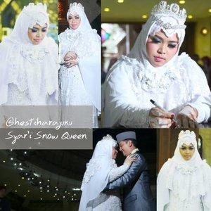 "Throwback 18❤11❤17 ---- 👑 #HestiHarajuku #WeddingGown :#Syari #hijab "" The #SnowQueen"" #WhitexSilver 👑------#muslimbride#clozetteid #hootd#wedding#IndonesianBride#tiara#nhkkawaii"