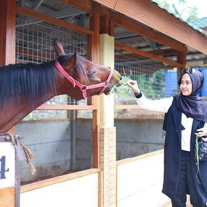 Well spent my sunny day with this horse 🐴 at Eco Pesantren DT #ClozetteId #ElhasbuStyle