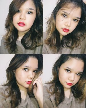 """Too lazy to wear make up day. Literally just skin care + red lipstick 💁🙍. No concealer, cc cream, foundation.. not even eyebrow powder. Nada 😂.··I'm wearing Red Matte Lipstick  from @maxfactor @maxfactorindonesia in shade """"Desire"""" (No. 30). Selfie ring light from @beautelight.id···#makeup #beauty #makeupaddict #makeupjunkie #motd  #makeuplover  #instamakeup #wakeupandmakeup #lipstick #beautyblogger #cosmetics #makeupforever #style #photoshoot #lips #instagood #instabeauty #hairstyle  #ilovemakeup #clozette #clozetteid #mattelipstick #redlips"""