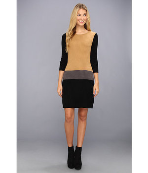 London Times Three-Quarter Sleeve Colorblock Sweater Dress Tan/Grey - 6pm.com