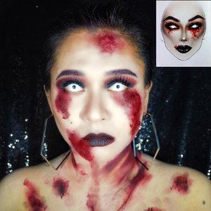 "Dear @milk1422 ; I was trying to recreate your artwork. But, turned out into a lil bit ""too bloody"". Sorry, i just can't help my self. I love you ❤️ #artistmilk1422 #halloweenmakeup • #ClozetteID #MakeupLover #makeuplovers #makeupartist #makeupjunkie #makeupblogger #beautylover #beautyblog #mua #beautygram #beautybloggerpage #indobeautygram #indobeautyblogger #beautybloggerindonesia #BeautyBloggerIndo #inssta_makeup #makeupisart #makeuplooks #make4glam #lumixindonesia #undertheradar_makeup #tampilcantik #makeuptutorial #100daysofmakeup #sfxmakeup"