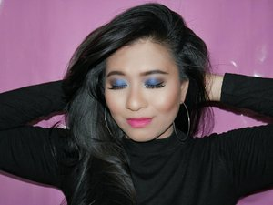 My Valentine's Makeup : Blue Eyes. Collaboration with @bloggerceriaid . Kenapa harus bingung tema makeup di (yang katanya) Hari Kasih Sayang. Well, sebenarnya gampang. Pilih warna ter-favorit dari orang tersayang kamu. Hemmmmm, kalo gak punya pacar? Relax,.... Warna kecintaan Mama / Papa juga bisa . The only reason that makes me do this kinda makeup look is my baby loves blue. Yes, @syed loves blue so damn much ;) . And of course, i decided to do this makeup with some drugstore/affordable products = Face : 1. #lorealmakeup @getthelookidTrue Match Blur Cream (primer) 2. @revlonid Colorstay Makeup Combination/Oily, 220 Natural Beige & 320 True Beige (foundation) 3. Revlon Colorstay Concealer, 01 Fair 4. Revlon PhotoReady Two Way Powder Foundation, Cool Beige (face powder) 5. @pixycosmetics Highlighting & Shading (bronzer & contour) 6. @nyxcosmetics_indonesia Mosaic Powder Blush, 09 Paradise - Eyes : 1. @viva.cosmetics Eye Base Gel 2. @eminacosmetics Pop Rouge Pressed Eye Shadow, Blue 3. @wardahbeauty Eye Shadow, Seri I 4. #MaybellineIND The Nudes Eyeshadow 5. Wardah EyeXpert - Optimum Hi-Black Liner 6. Pixy Waterproof Mascara, Black 7. @joi.studio False Lashed Magnetic A M04 - Brows : 1. @wnwcosmetics Coloricon Brow Pencil E6231 Brunettes Do It Better 2. @citycolorcosmetics Brow Quad, Dark - Lip : 1. @moodmatcherindonesia Yellow - #BloggerCeriaMakeupCollaboration #ValDay #Makeup #VDay #ValentineMakeup #BloggerCeriaID  #ClozetteID