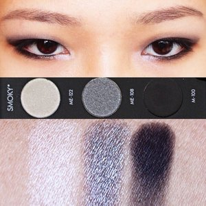 MAKEUP FOREVER STUDIO CASE - Smoky Left-rightME- 122 SnowWhite with metallic sheen. The formula is smooth and easy to apply. But not as pigmented as the other metallic shadow in the palette.ME- 108 SteelGray with frosted finish. Smooth and buttery formula. Quite pigmented and blend nicely.M- 100 Blackmatte black. The formula is dry but smooth and easy to apply and blend. The pigmentation is buildable.#Moldiv #VSCOcam #ALTERCOUTUREbeauty #makeup #maquiallage #clozetteid