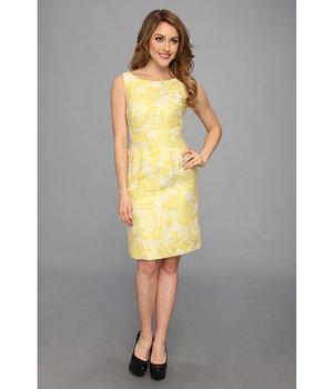 Tahari by ASL Winnie K Metallic Jacquard Dress Yellow/Beige/Gold - 6pm.com