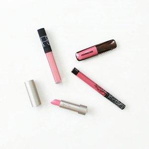 Shades of pink 💕💋 . . . #makeup #beauty #clozetteid #nars #katvond #hourglass #ilia #liquidlipstick #lipgloss #lipstick #lipstickjunkie #lippies #beautycommunity #beautyblogger #shadesofpink #happywednesday #makeupaddict #makeupjunkie #makeuplover #makeupcollection #makeupmess #makeupmafia #makeupobsessed #makeupporn #flatlay #instabeauty #instamakeup #igbeauty #igmakeup