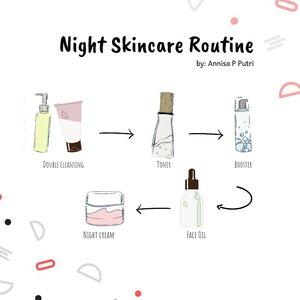 Sudah malam saatnya tidur 😴 Eitss, jangan lupa bersihkan wajah dan pakai skincare rutin kalian ya!  Kalau ini urutan pemakaian skincare rutin aku. Biasanya di sabtu minggu suka aku selipin masker ✨. #clozetteid #nisaskincareroutine #skincare #nightcare #beautyblogger #bloggerindonesia