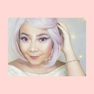 [SWIPE FOR DETAIL 💞] Today I watched @cosmobyhaley makeup tutorial about unicorn horn wing liner and I'm in love! So I recreate it  in my own version💕  I hope you guys like it 😘 sorry for the 'mess'  Wig by @giselavi_  #Unicorn #UnicornMakeup #makeupunicorn #kawaii #ulzzang #wakeupandmakeup  #hudabeauty #pink #cute #ClozetteID #Beautynesia #Lovely