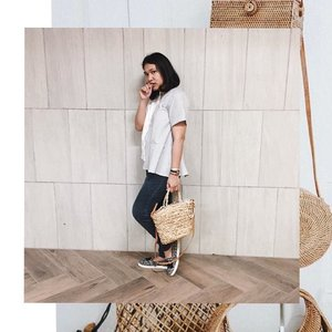 probably the last photo (for a while i promise) with the rattan bag 😂😂😂 #aleenlook . . . . . . .  #instadaily #livethelittlethings #abmhappylife #petitejoys #thatsdarling #darlingmovement #pursuepretty #thehappynow #theeverydayproject #flashesofdelight #lifestyleblogger  #lifestyleblog #thegirlgang #stylediaries #wiw #currentlywearing #ggrep #ootd #ootdid #fashionbloggerindonesia #ootdindonesia #whatiwear #whatiwore #ootdmagazine #outfit #clozetteid