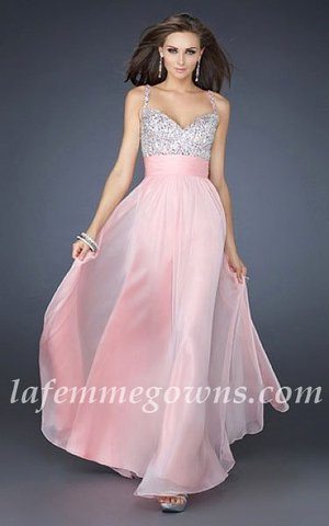 This gorgeous jeweled encrusted Dress Featuring Thin Straps, The beautiful heart-shaped bodice is encrusted with jewels, and a gorgeous chiffon A-line skirt finishes the look. If pink, Pink, is not your color, the dress is also available in several other colors. This is just the dress for the girl who wants to look sensational at prom. This is the perfect prom or special occasion dress that will be sure to get you noticed! Ensure your special night will be one you'll never forget.      Size: Standard Size or Custom Made Size Closure: Zipper Details: Jewel Encrusted Bodice, Layered Skirt, A-Line skirt Fabric: Chiffon  Length: Floor Length Neckline: Heart-Shape, Slim Straps Waistline: Empire Waist Color: Pink Tag: Sequin, A-line, Thin Straps, Pink, Long, Prom Dresses, La Femme 16802