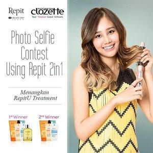 Mau hasil styling dengan Repit kamu terlihat lebih maksimal? Ikuti Photo Selfie Contest Using Repit 2in1 dan menangkan 1 set RepitU Treatment senilai total 2,3 juta rupiah untuk 2 orang pemenang! Mekanisme: 1. Follow akun Instagram @RepitIndo & @ClozetteID 2. Upload foto selfie kamu dengan produk Repit 2in1 ke Instagram. 3. Tag @RepitIndo @ClozetteID dan sertakan hashtag #ClozetteXRepitIndo #Clozetteid #RepitIndo  Submit foto kami tunggu paling lambat tanggal 31 Mei 2016, ya. Jangan lupa promote foto selfie kamu karena semakin besar like foto semakin besar pula kesempatan menangnya! Good luck!