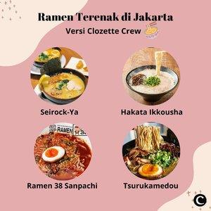 Untuk Clozetters yang suka makanan Jepang, ramen bisa jadi pilihan yang oke, lho! Olahan makanan yang terbuat dari bahan dasar berupa mie yang berkuah, pertama kali diciptakan pada tahun 1910. Bagi kamu yang ingin menikmati segarnya kuah ramen, Clozette Crew punya rekomendasi tempat makan ramen terenak di Jakarta. Kalau favorit kamu yang mana, nih Clozetters?📷 @seirockya.ramen @hakataikkousha @ramen38official @tsurukamedoujkt#ClozetteID #ClozetteIDCoolJapan #ClozetteXCoolJapan #Ramen