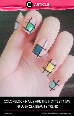 Penggemar nail art berdesain simple patut mencoba motif colorblock yang diramalkan akan hype di musim selanjutnya ini. Simak inspirasinya di http://bit.ly/2bMIjiK. Simak juga artikel menarik lainnya di Article Section pada Clozette App.