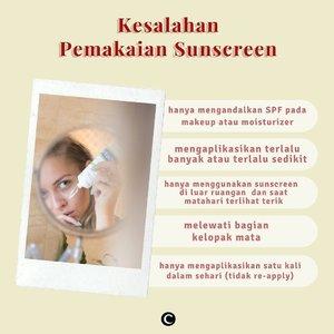 Memakai sunscreen adalah cara terbaik untuk melindungi kulit kita dari paparan sinar matahari yang kurang baik untuk kesehatan kulit. Namun, tahukah kamu kalau masih banyak dari kita yang mengaplikasikan sunscreen dengan kurang tepat yang tentu saja akan mengurangi manfaat sunscreen bagi kulit kita. Cek beberapa kesalahan pemakaian sunscreen berikut ini dan kalau kamu termasuk yang masih melakukannya, jangan diulangi lagi, ya!👀Psst.... swipe left untuk lihat beberapa rekomendasi sunscreen untuk daily dari Clozette!#ClozetteID #ClozetteIDCoolJapan #ClozetteXCoolJapan #sunscreen