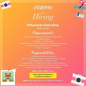 Another job vacancy for today!✨ if you meet all the requirements, please don't hesitate to send your best cv! #ClozetteID #loker #jobvacancy