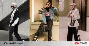 10 Style Hijab Boyish Serba Monokrom, Andalan Gaya Kasual Super Modis