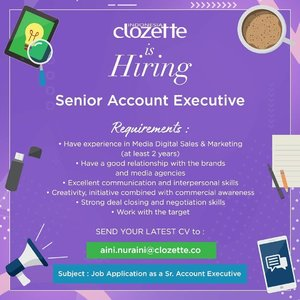 Looking for a job? We're hiring Senior Account Executive to join our Sales Team✨ Do you have experience in Digital Sales & Marketing at least 2 years? Send your latest CV now! Come and join with us. 😉#ClozetteID #Loker #LokerJakarta #LowonganKerja #jobvacancy #LokerAE #LokerAccountExecutive