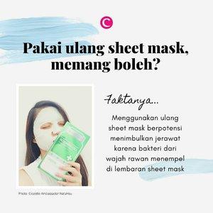 Siapa yang suka pakai ulang sheet mask karena sayang dengan essence yang masih tersisa di kemasan? Sayangnya, hal itu dapat memicu jerawat, lho. Jadi jangan diulangi lagi ya Clozetters. Tenang, kita kasih tips juga kok supaya sisa-sisa essence sheet mask yang berharga enggak terbuang sia-sia. Swipe left :) . #ClozetteID #ClozetteXCoolJapan #ClozetteIDCoolJapan #sheetmask #skincarefacts #skincaremyth #tipsskincare #sheetmasktips #saborinosheetmask #lululunsheetmask