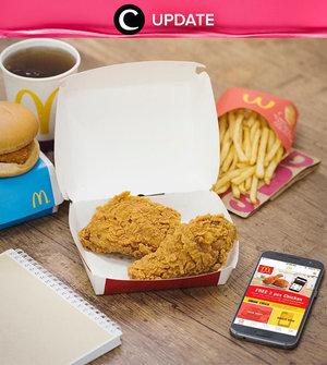 """McD bagi-bagi 2 ayam gratis! Kamu dapat lihat infonya pada bagian """"Premium"""" di aplikasi Clozette. Bagi yang belum memiliki Clozette App, kamu bisa download di sini http://bit.ly/app-clozetteupdate. Jangan lewatkan info seputar acara dan promo dari brand/store lainnya di Updates section."""