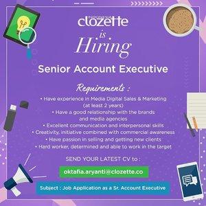 Merasa belum cocok dengan kualifikasi dua job vacancy kemarin? Nggak perlu khawatir karena Clozette masih punya satu lagi job vacancy untuk kamu!✨ kirimkan Cv terbaikmu ke e-mail di atas yaa. We'd love to have you here as Clozette Crew! Good luck❤️ #ClozetteID