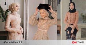 9 Pilihan Kebaya Hijab Warna Peach, Memikat bak Putri Disney!