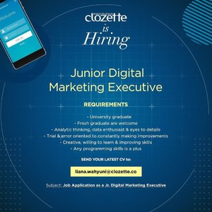 We're looking for Junior Digital Marketing Executive. If you meet the qualifications for this position, don't hesitate to send your latest CV! Good luck, Clozetters✨ #ClozetteID #ClozetteHiring #Loker #LokerJakarta