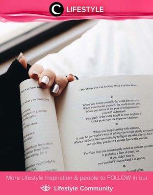 Getting lost in a good book is time well spent. Image shared by Clozette Ambassador @sophietahir.  Simak Lifestyle Update ala clozetters lainnya hari ini di Lifestyle Community. Yuk, share momen favoritmu bersama Clozette.