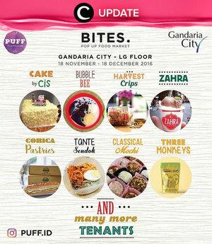 Yuk wisata kuliner di Bites Pop Up Food Market Gandaria City mulai 18 November-18 Desember 2016! Ada banyak food brand yang wajib kamu coba nih seperti Three Monkeys, Zahra dan lainnya. Jangan lewatkan info seputar acara dan promo dari brand/store lainnya di Updates section.