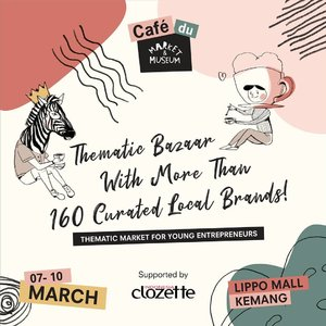 The biggest thematic market with more than 160 curated local brands is back, Clozetters! ⠀⠀Café du Market & Museum. @marketmuseum⠀⠀Thursday to Sunday, 7 - 10 March 2019 only at Lippo Mall Kemang!⠀⠀With more than 160 tenants from fashion, home decor, accessories, and food & beverages, it will surely satisfy your shopping experience and it is something you don't wanna miss!⠀⠀Mark your calendar and see you there, because it's a free entrance event!⠀⠀#ClozetteID#MarketMuseum #CafeduMarketMuseum