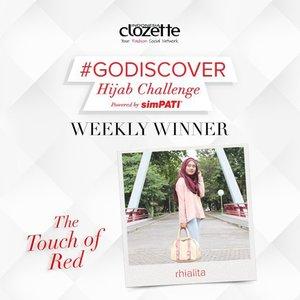 SELAMAT kepada Clozetter @rhialita!!! Kamu memenangkan tantangan minggu kedelapan #GoDiscover Hijab Challenge dalam tema #TheTouchOfRed. Kirimkan data dirimu (Nama, Alamat, No.Hp, scan KTP, serta Nomor SIMPATI kamu) ke hello@clozette.co. Konfirmasi kami terima selambatnya sebelum tanggal 30 Agustus 2015. Sekali lagi, selamat, ya!! Bagi peserta lain, tetap stay tune di akun social media ClozetteID ya, siapa tahu kamu adalah pemenang hadiah utama Hijab Challenge kali ini! #ClozetteID #hijabstyle #hijaboftheday#hijabfashion #hijabootdindo#hijaboftheworld #hijaboftheday