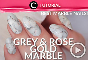 Pecinta warna rose gold dan pattern marble? Yuk, wujudkan keduanya dalam bentuk nail art. Lihat tutorialnya dalam video berikut http://bit.ly/2sockNv. Video ini di-share kembali oleh Clozetter: @dintjess. Cek Tutorial Updates lainnya pada Tutorial Section.