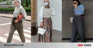 Inspirasi Puff Sleeve Top dengan Hijab, Auto Jadi Ko Moon Young