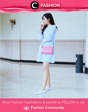 Sweet look with baby blue dress, sneakers, and pink sling bag for dating on this satnight. Simak Fashion Update ala clozetters lainnya hari ini di Fashion Community. Image shared by Clozette Ambassador: @amaliafajrina. Yuk, share outfit favorit kamu bersama Clozette.
