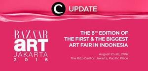 Jangan kelewatan edisi 8 Bazaar Art Jakarta 2016 mulai tanggal 25-28 Agustus 2016 di The Ritz-Carlton Jakarta, Pacific Place. Jangan lewatkan info seputar acara dan promo dari brand/store lainnya di Updates section pada Clozette App.