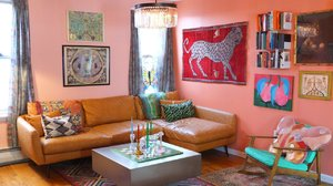 Designer Mia Vesper Defines Her Home With Vintage Textiles and Peach-Colored Paint