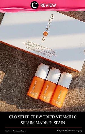 Bukan kosmetik Korea ataupun USA, Kali ini Clozette Crew mencoba serum Vitamin C dari brand asal Spanyol, Skeyndor! Intip selengkapnya di: http://bit.ly/2lLtqXp. Jika kamu pernah mencoba atau me-review produk ini, share juga pendapatmu di kolom Comment, ya!