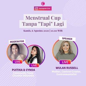 """Pemakaian menstrual cup masih menjadi perdebatan di kalangan perempuan. Banyak yang ingin mulai beralih menggunakan menstrual cup, tapi...... masih ada beberapa pemikiran yang membuat ragu sampai akhirnya mengurungkan niat. Begitu juga yang dirasakan oleh beberapa Clozette Crew dan teman-temannya. Duh! Mau pakai menstrual cup tapi takut sakit, tapi katanya bisa merobek selaput dara, tapi nggak tahu cara pemakaiannya, dan banyak """"tapi-tapi"""" lainnya yang bikin maju mundur untuk menetapkan pilihan penggunaan menstrual cup. Padahal kan dengan beralih menggunakan menstrual cup akan lebih eco-friendly karena penggunanya yang reusable bahkan bisa digunakan sampai bertahun-tahun, lho!  Kamu merasakannya juga nggak, Clozetters? Kalau iya, yuk gabung dalam IG Live Clozette, akan ada Clozette Crew @puitika dan @cyndadissa yang akan chit-chat bersama @wulanrussell seputar pemakaian menstrual cup yang masih banyak """"tapi""""-nya di sekitar kita. KAMIS, 06 Agustus 2020 jam 10 WIB.  Kalau kamu, apa sih pengalaman kamu dengan menstrual cup? Atau justru masih ragu menggunakannya karena banyak ketakutan yang dimulai dari """"tapi"""" dan katanya""""? Dan apa sih yang ingin kamu ketahui dari menstrual cup? Tulis di kolom komentar ya, Clozetters! #ClozetteID"""