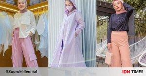 9 Inspirasi OOTD Hijab Putri Melati, Gaya Simpel dengan Warna Pastel