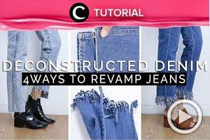 Make your old jeans even cooler than your new ones! Check the tutorial here: http://bit.ly/2kJ3Im3. Video ini di-share kembali oleh Clozetter @aquagurl. Lihat juga tutorial menarik lainnya di Tutorial Section.